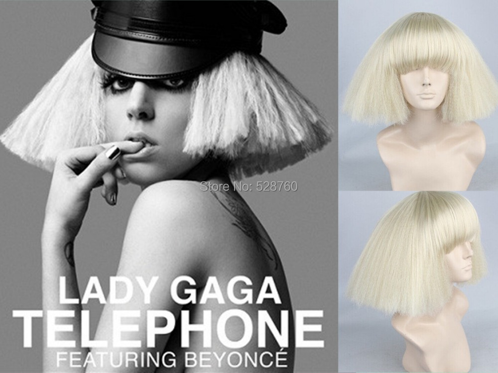 Fashion Sexy Woman Star Lady Gaga Beigh Short Sides Puffy Synthetic Cosplay Wig Free shipping<br><br>Aliexpress