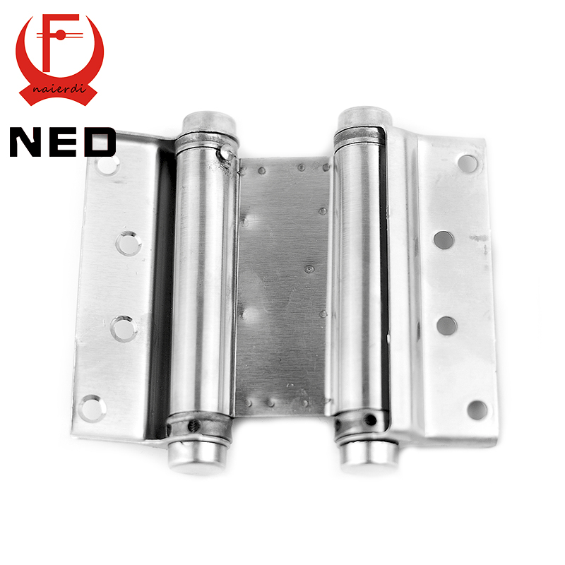 2PCS NED-5107 5 Inch Double Action Spring Door Hinge Stainless Steel Rebound Hinge For Cafe Swing Western Furniture Hardware(China (Mainland))