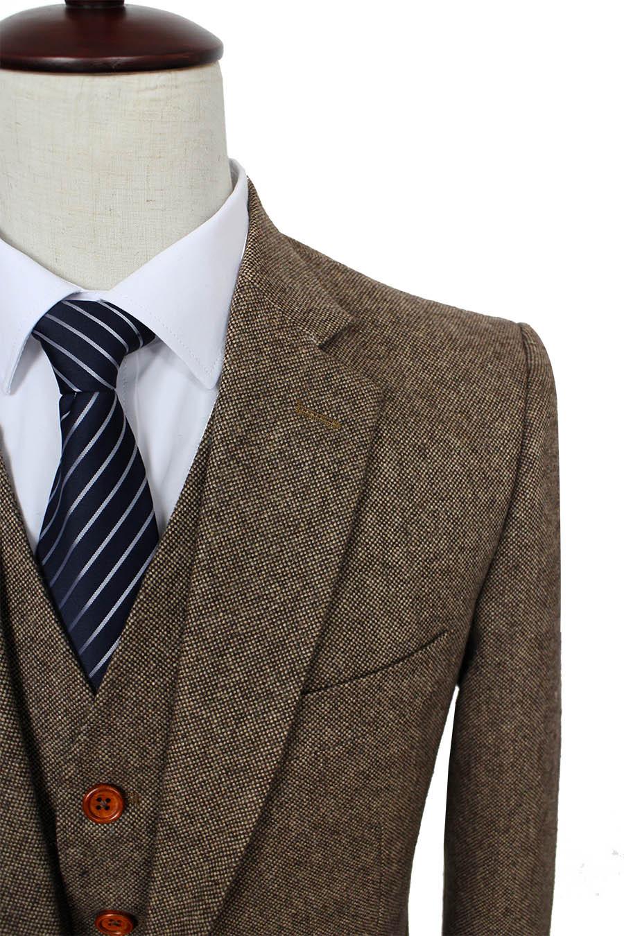 Brown Classic Tweed custom made men slim fit suit Blazers Retro gentleman style tailor made wedding