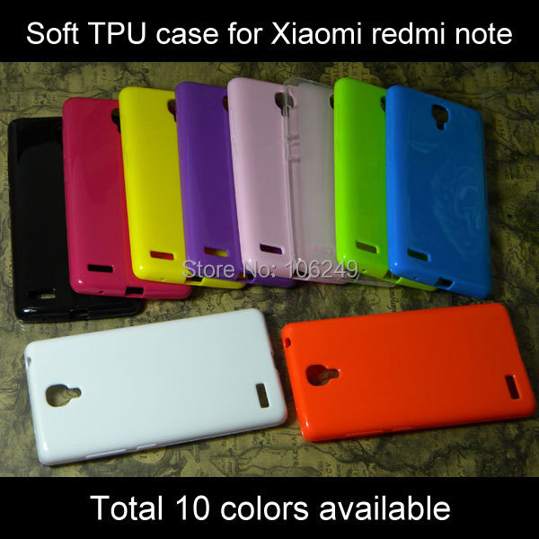 Xiaomi redmi note case soft TPU silicone cover for xiaomi hongmi note many colors available 1pc free shipping(China (Mainland))