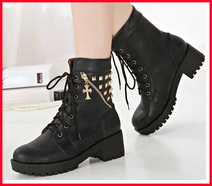 Popular Women Boots British Style Classic Women Motorcycle Martin Boots Punk