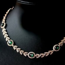 New Arrival 18K Oliver branch Luxury Austria Crystal Emerald Bridal Wedding chocker necklace Free shipping(China (Mainland))