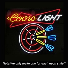 New Hot Coors Light Dart Handcrafted Beer Bar Pub Neon Sign Bright Neon Bulbs Gift Real Glass Tube Handcraft Beer Bar Pub 19x15(China (Mainland))