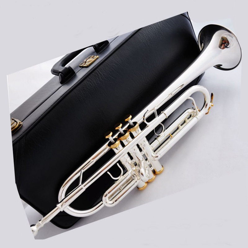 2015 New Free Shipping french horn Promotions Brand Bach Professional Trumpet Model CGN-180 Bb Trumpet gold key(China (Mainland))