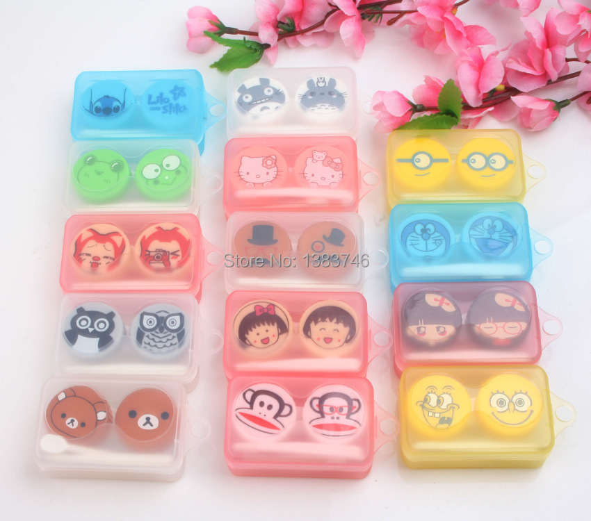 Mixed 5pcs eye contact lenses /contact lenses/contact lenses for eyes/Contact lenses box with cartoon picture 4*6.5*2.4.cm(China (Mainland))