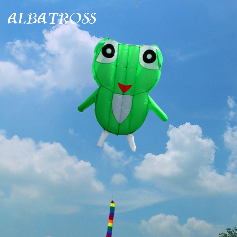 3D green 1 Line Stunt Parafoil Frog POWER Sport Kite outdoor toy free shipping(China (Mainland))