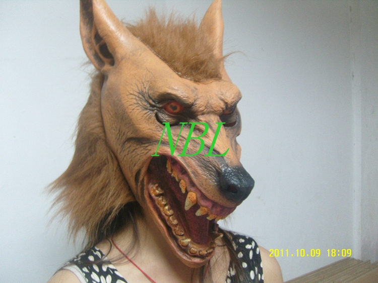 Halloween Scary Werewolf Head Latex Mask Horror Animal Wolf Same Masks Children Toys Masquerade Party Props Free Shipping(China (Mainland))