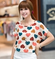 High Quality Heart Printed Summer Women Blouses Short Sleeve Chiffon Blouse Plus Size Blusas Femininas 2016