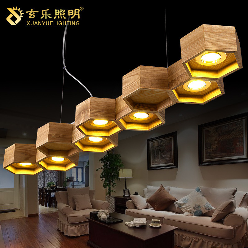Lighting led chandelier arts simple cellular manufacturers restaurant lights chandelier Wooden Chandelier(China (Mainland))