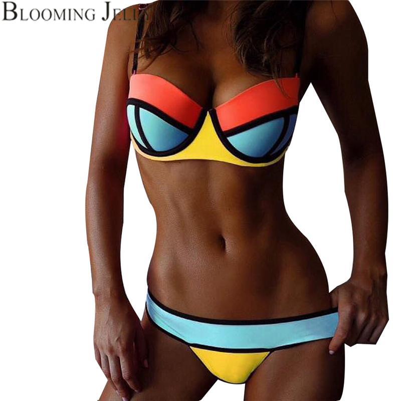 Neon Color Block Swimwear Women Bikini Bathing Suit Push Up Beach Wear Biquinis Women Bikini Swimsuit Bathing Suit Swimsuits Одежда и ак�е��уары<br><br><br>Aliexpress