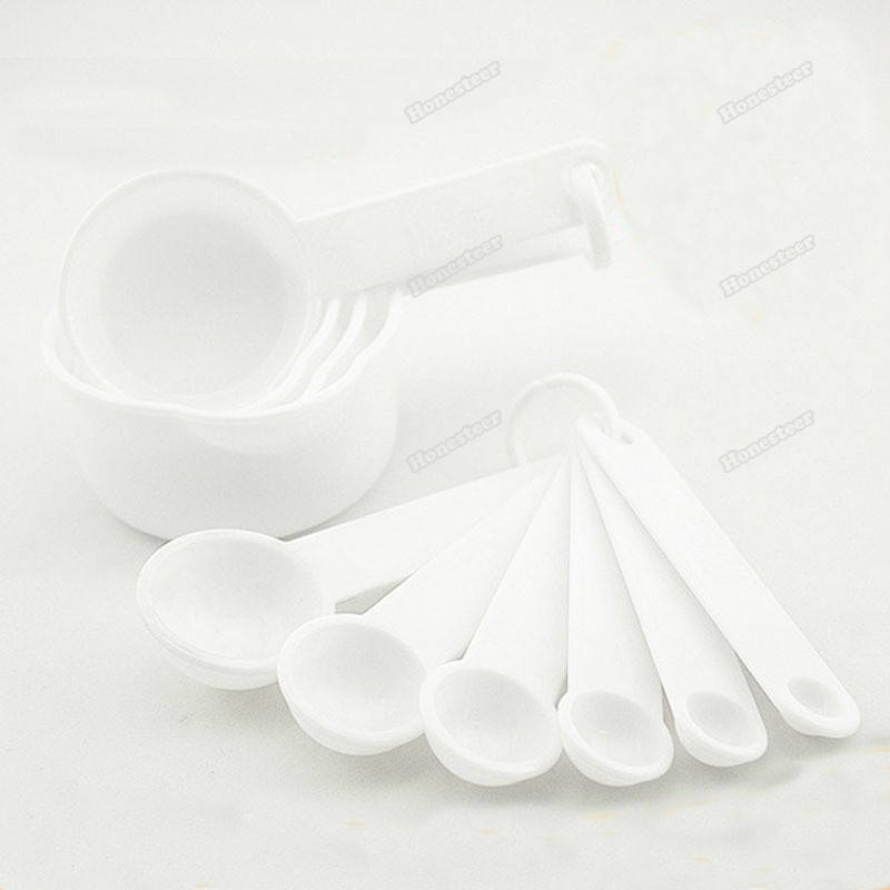 ChiCenter New 5Pcs White Kitchen Plastic Measuring Spoons Cup Set(China (Mainland))