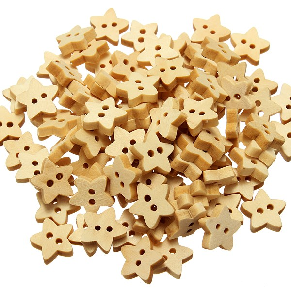 100Pcs/pack 13mm Wooden Star Buttons Natural 2 Holes Flatback Sewing Tools Home Craft Scrapbooking(China (Mainland))