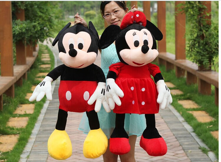 a pair of plush mickey mouse toys new lovely boy mickey and red girl minne dolls gift about 80cm(China (Mainland))
