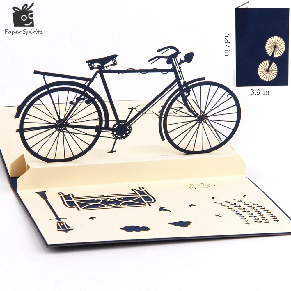 3D pop up handmade laser cut vintage cards Vintage bike creative gifts postcard birthday greeting cards for lovers(China (Mainland))