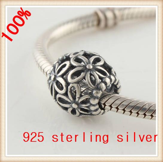925 стерлингового серебра подвески полые цветок бусины женщины ювелирные изделия DIY подходит для бандуры змея цепи ожерелье браслет