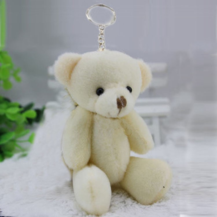 80pcs wholesale 12CM cream white jointed mini teddy bear small teddy bear with keychain /cartoon bouquet toy/wedding gifts(China (Mainland))