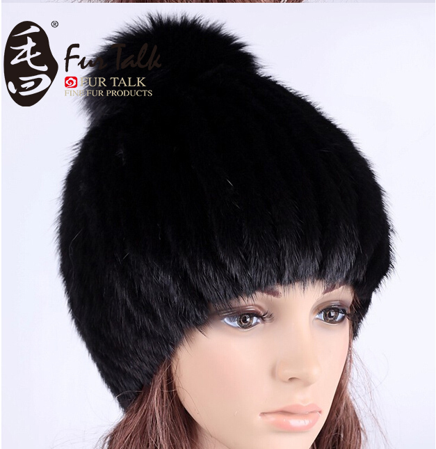 Real Mink Fur Hat and Beanie Cap with Fox Fur Ball 10days to Russia(China (Mainland))