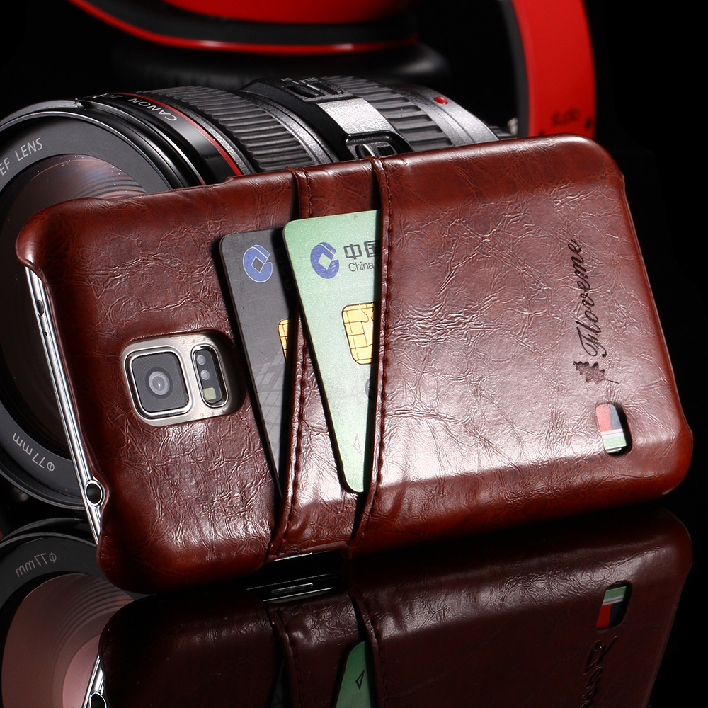 Fashion Card Holder Case for Samsung Galaxy S5 i9600 Luxury Retro Elegant Thin Classic Back Leather Cover for samsung s5(China (Mainland))