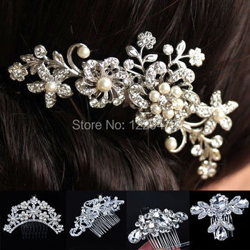 Bridal Wedding Flower Crystal Rhinestones Diamante Pearls Women Hair Clip Comb Hair Accesories