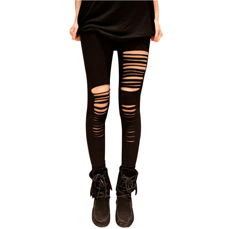 Fashion New Ripped Women Leggings Asymmetrical Hollow Out ...