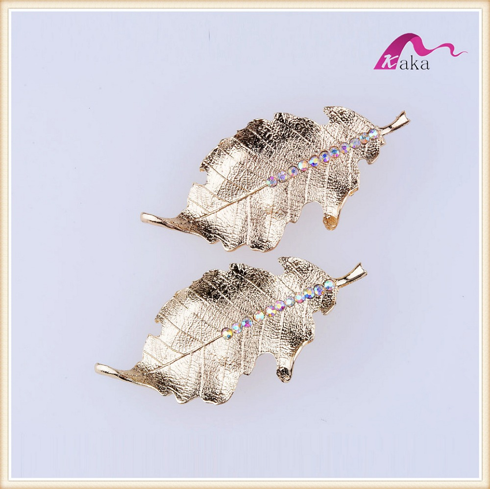 Charming French Fancy Designs Crystal Dotted Gold Leaves Hair Clips For Girls Wedding Bridal Hair Grips Accessories(China (Mainland))