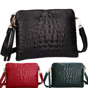 New Promotion 2015 fashion Genuine Leather Crocodile pattern Women Handbag Shoulder Bag female Messenger Bag ladies Day Clutch(China (Mainland))