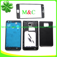 Original Real Full Housing For Samsung Galaxy S2 i9100 With Front Middle Frame+Battery Back Cover +Buttons +Glass Lens Free Ship(China (Mainland))