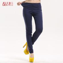 S-6 xl 2015 fashion full length elastic waist candy color plus size women jeans solid cotton denim pencil pants legging trousers(China (Mainland))