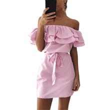 Buy Kawaii Bandage Party Beach Dresses Sexy Ruffles Slash Neck Mini Dress Women Striped Dress Summer Vestidos Mujer Plus Size GV563 for $7.19 in AliExpress store