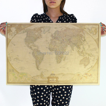 [ Sun86 ] World map Vintage Style Retro Paper Poster  Wall Bar Cafe House Living Room Art Decoration Mix Order 72.5X47.5 CM D-1(China (Mainland))
