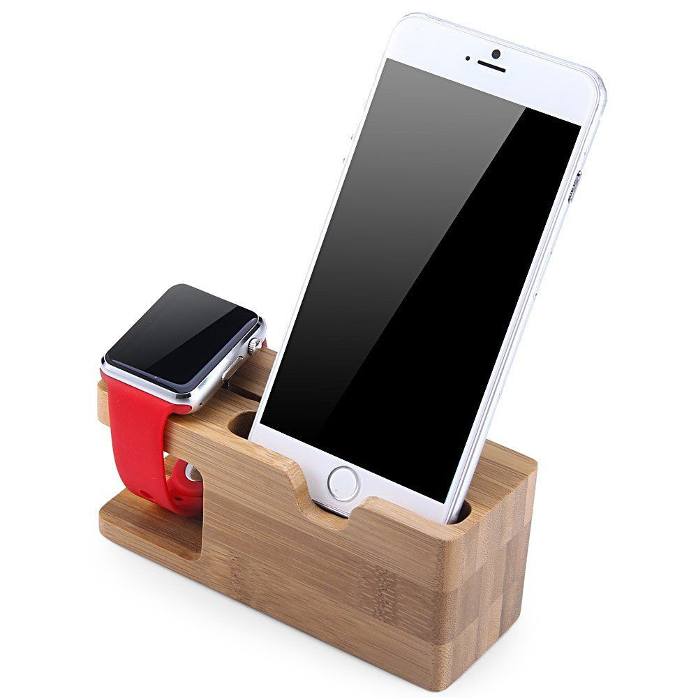 HOT Charging Docking Station Charger Stand Holder for Apple Watch iPhone--DEEP BALBOO NATURAL 5