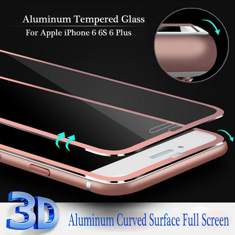 3D Edge Aluminum Alloy Tempered Glass Full Screen Protector For Apple iPhone 6 6S 6 Plus 9H Hardness Screen Protective Film(China (Mainland))