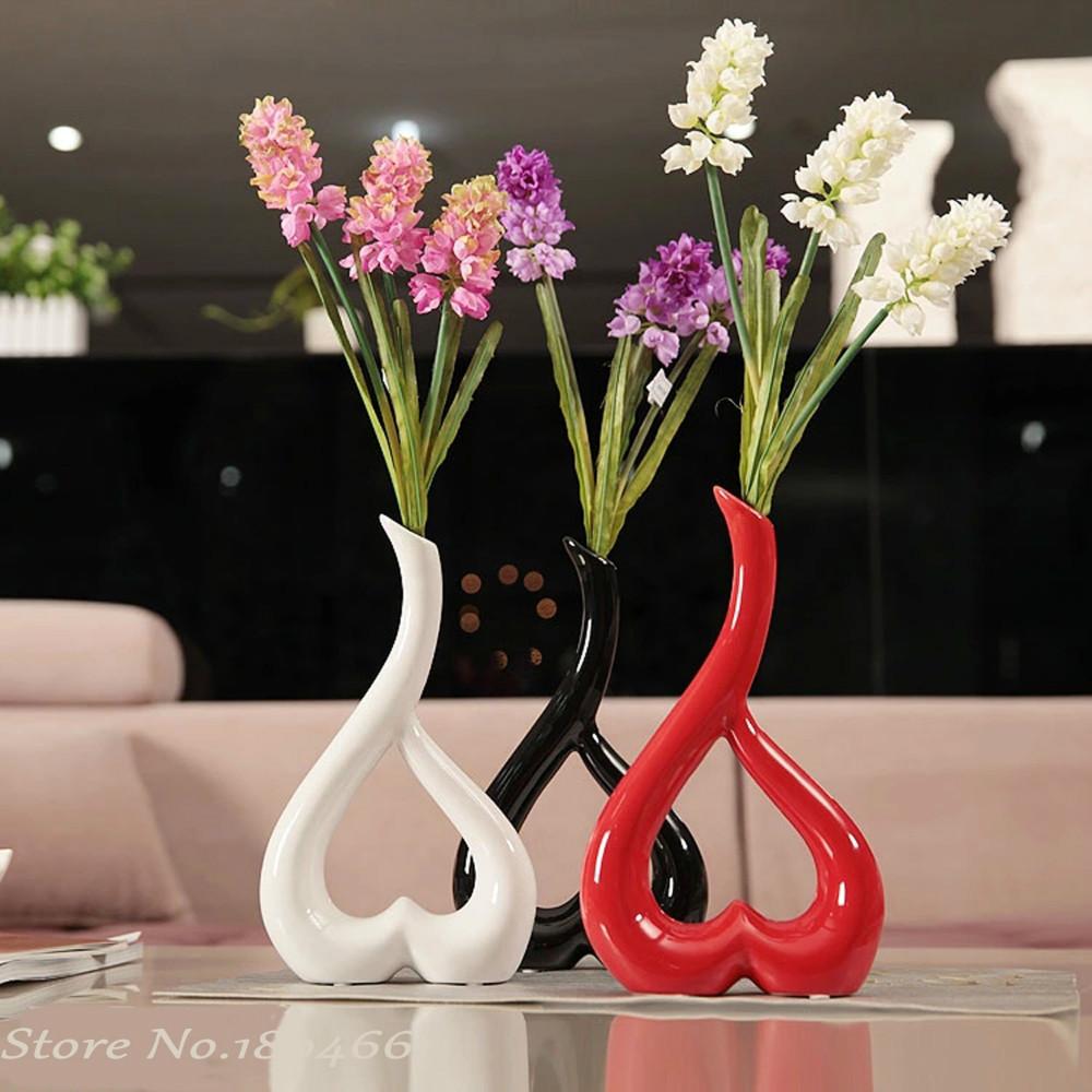 Ceramic heart flowers vase designs home decor crafts room for Vase de decoration interieur