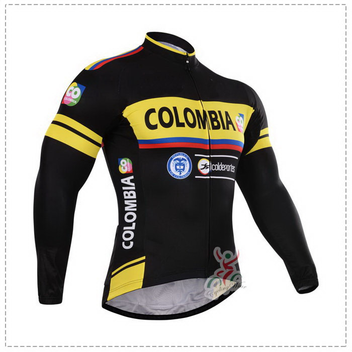 WINTER FLEECE THERMAL 2015 COLOMBIA PRO TEAM BLACK YELLOW ONLY Long Sleeve Cycling Jersey Bike Bicycle Wear Size XS-4XL(China (Mainland))
