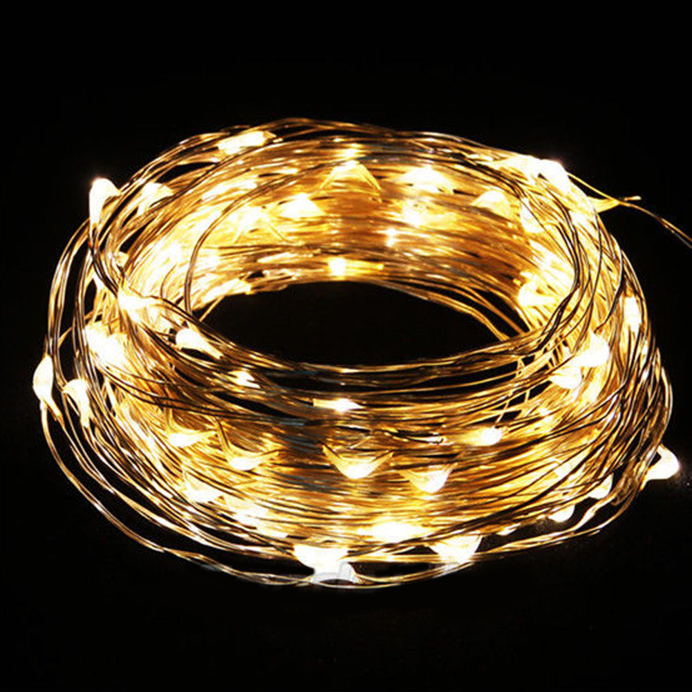 10M/33FT 100 LED Saving Copper Wire Fairy Romantic Home Garden Decor String Light Party Wedding decoration Warm White(China (Mainland))
