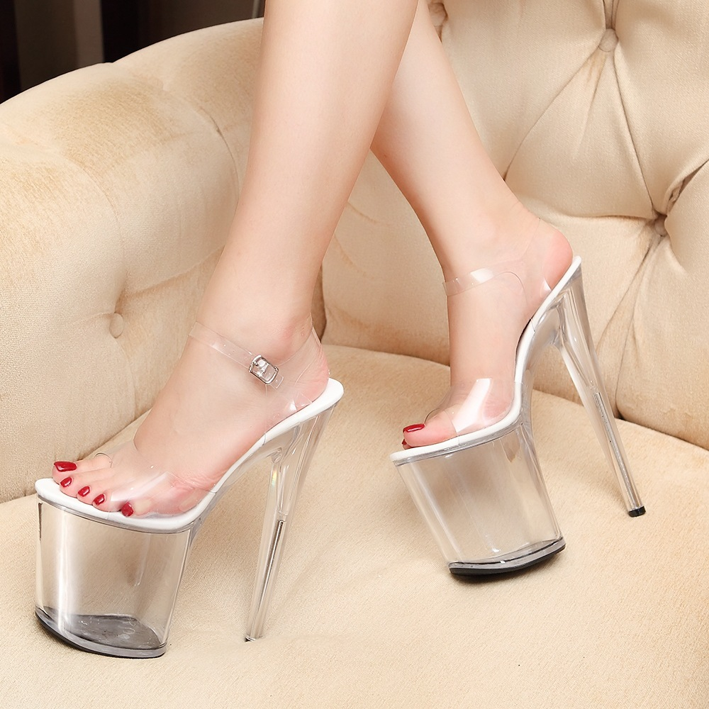 Women shoes sandals zapatos mujer 2016 sexy Fish head style Summer Transparent Hentian high heels sandals<br><br>Aliexpress