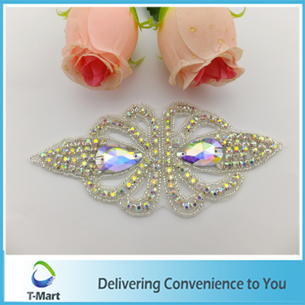 embroidery rhinestone applique trim for wedding decorations(China (Mainland))