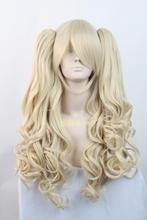 Lolita / Light blonde double wave tails chip on synthetic cosplay costume wig,heat resistance fibre.Free shipping(China (Mainland))