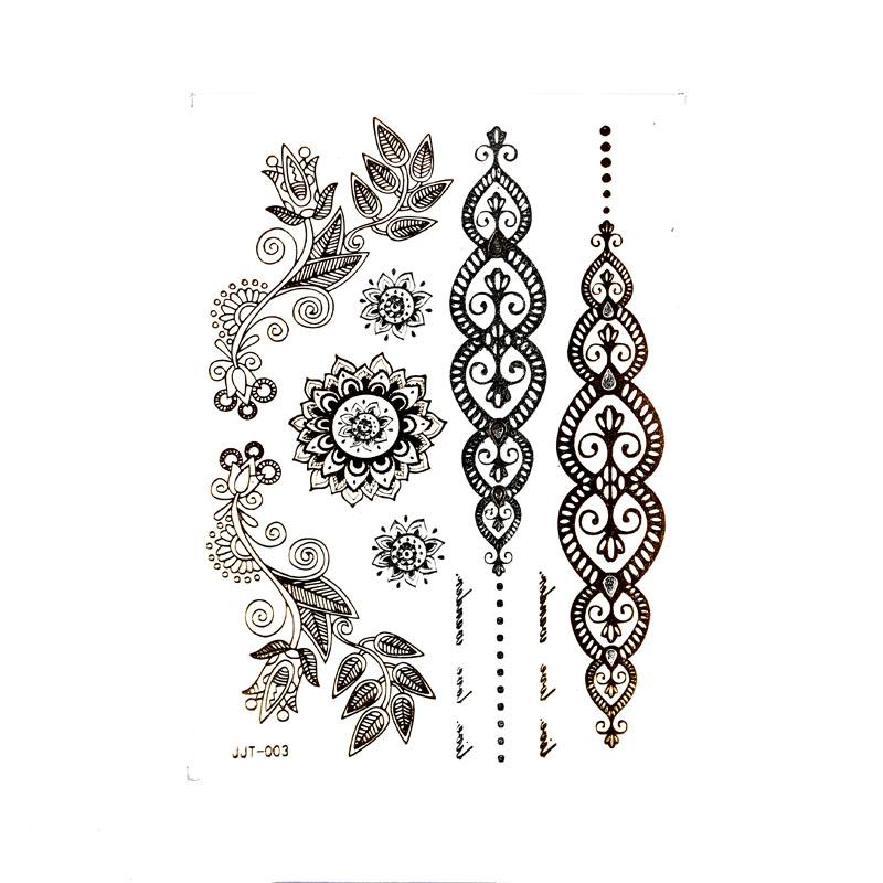 Mehndi Tattoo Stickers : Gold tattoos temporary tattoo stickers flash tatoo