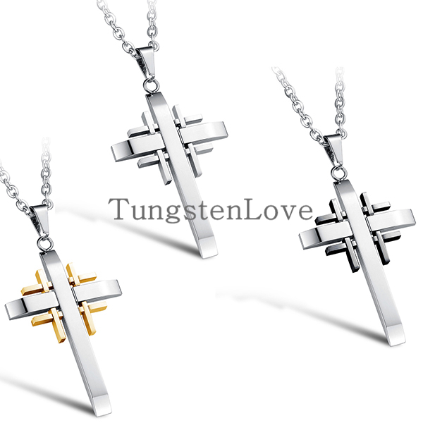 Wholesale 2015 Fashion Fine Jewelry Men Stainless Steel Cross Pendant Necklace Male Vintage Accessories Black Gold Sivler Colors(China (Mainland))