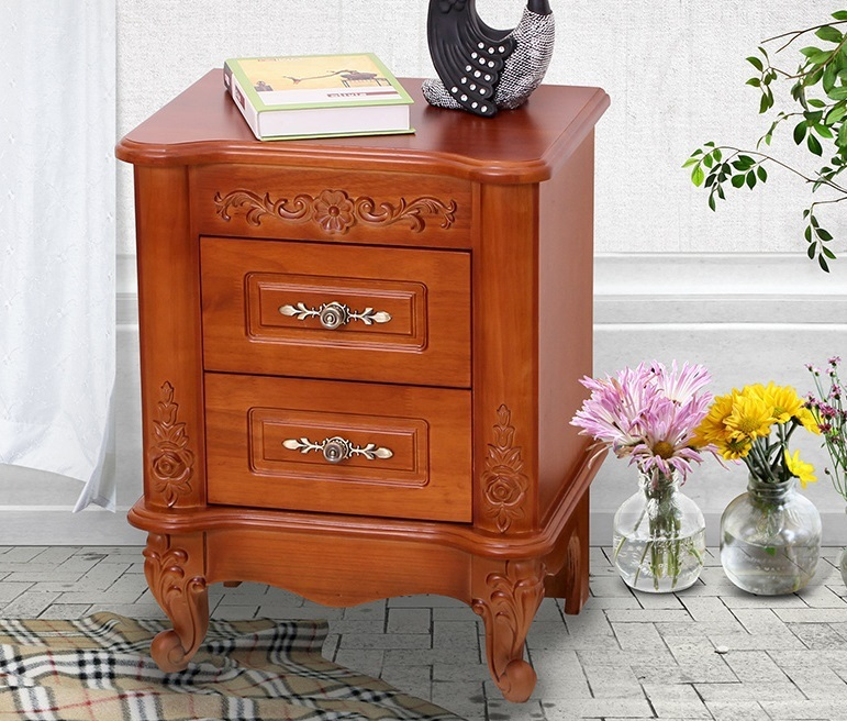 EC FURNITURE Free shipping high-end home nine letter romantic European-style garden storage bedside nightstand oak wood storage(China (Mainland))