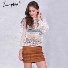 Buy Simplee White lace blouse shirt women top Casual hollow lantern sleeve pink blusas Autumn elegant geometry cool blouse 2016 for $11.66 in AliExpress store