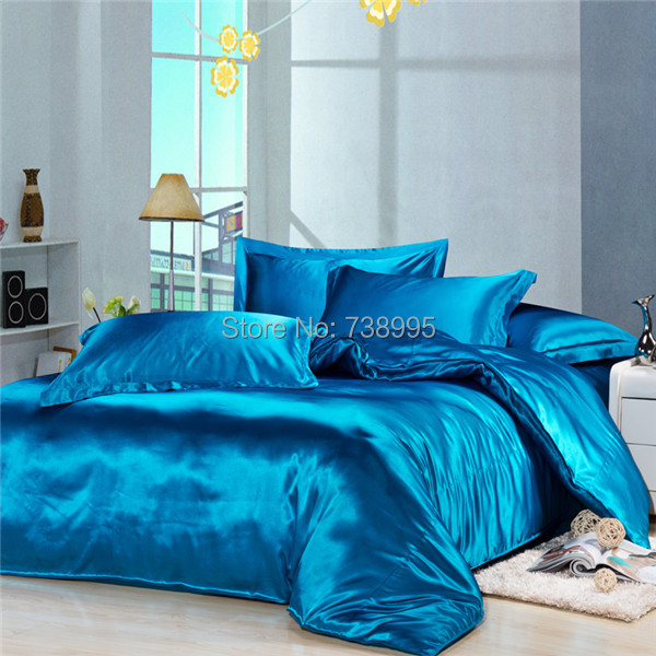 Home textile Bedding set 100% silk duvet cover bed set bedclothes fitted sheet Imitation silk bed linens Twin Queen&King size(China (Mainland))