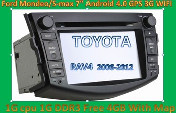 """DHL Free shipping New style 7"""" Android 4.0 1G CPU Car DVD Player For toyota RAV4 Navigation GPS dongle MIC 3G WIFI touch screen"""