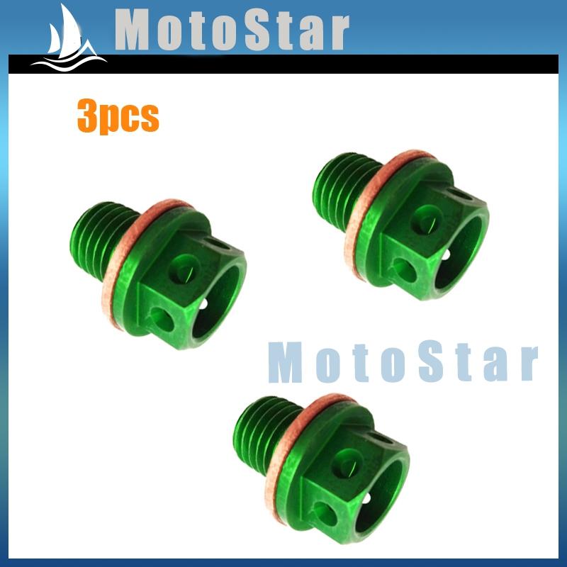 3x Magnetic Oil Drain Bolt Plug For 50cc 90 110 125 140 150 160 cc Lifan YX Zongshen Chinese Pit Dirt Bike ATV Quad Green(China (Mainland))