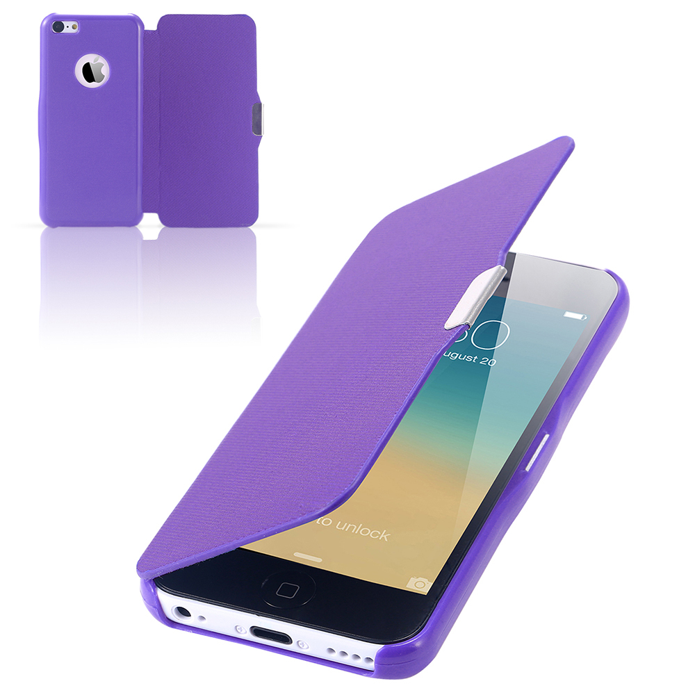 5C Hot items Ultra Thin Magnetic Flip Leather Case for iphone 5C Cloth Skin Phone Cover Bags Slim Fashionable Purple YXF04225(China (Mainland))