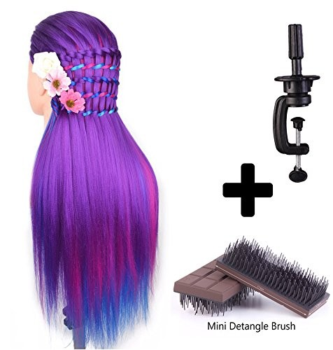 24 Cosmetology Mannequin Head 100% Synthetic Hair Rainbow Color with Table Clamp Holder &amp; Mini Detangling Brush Purple Series<br><br>Aliexpress