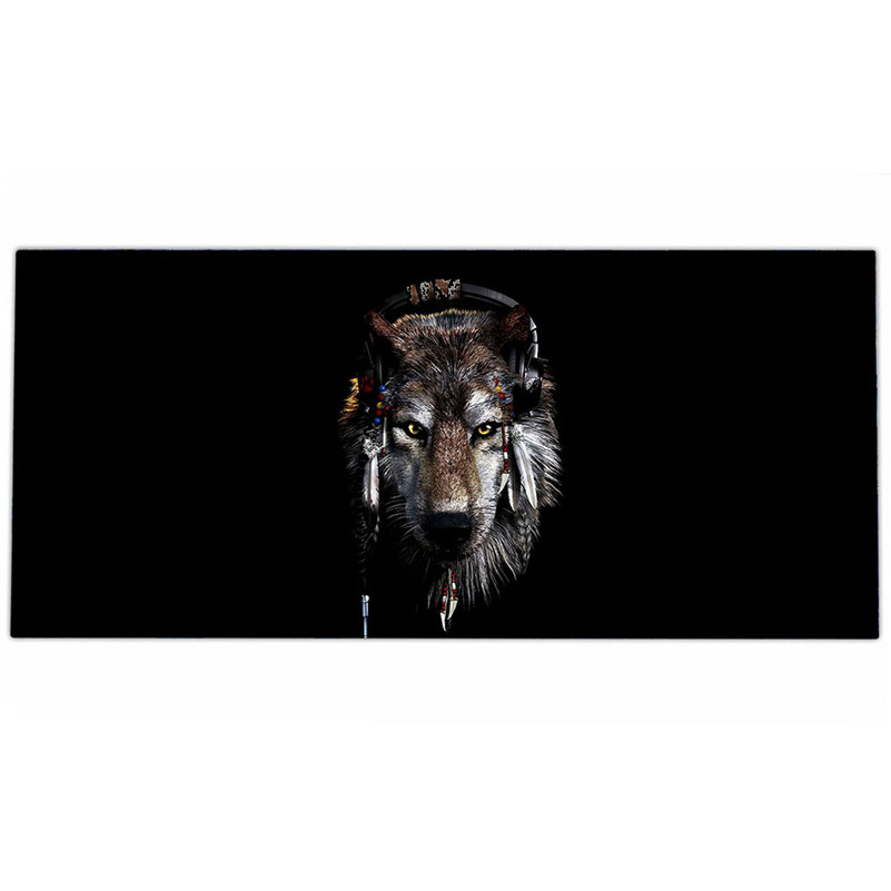 Wolf Head Picture Computer Gaming Mouse Pad, High Quality Fashion Rubber XL Extended Large Size Mouse Mat 895*395*MM(China (Mainland))