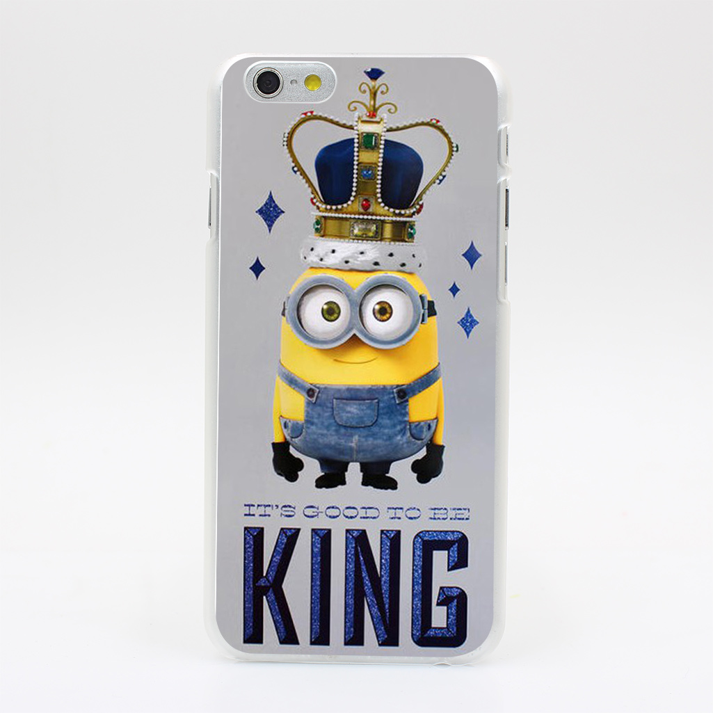 1613Y MINIONS POSTER IT S GOOD TO BE KING Hard Case Transparent Cover for iPhone 4 4s 5 5s 5c SE 6 6s Plus(China (Mainland))
