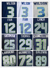 Free shipping Mens 24 Marshawn Lynch Seahawks Elite Football Jerseys Color Blue White  Size M-3XL Best Quality